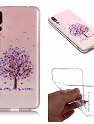 baratos -Capinha Para Huawei P20 / P20 lite IMD / Transparente / Estampada Capa traseira Árvore / Flor Macia TPU para Huawei P20 / Huawei P20 Pro / Huawei P20 lite