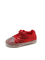 cheap -Girls' Shoes Synthetics Fall & Winter Comfort Sneakers Walking Shoes Rhinestone for Kids Black / Light Red / Silver