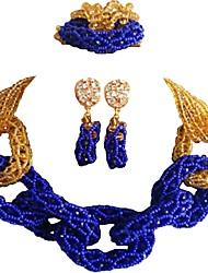 Недорогие -Жен. Многослойность Комплект ювелирных изделий - MOON Мода Включают Струнные ожерелья Красный / Зеленый / Ярко-розовый Назначение Свадьба