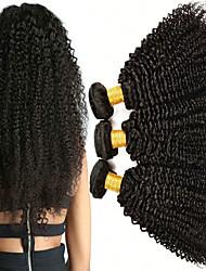 Недорогие -3 Связки Малазийские волосы Kinky Curly 8A Натуральные волосы Необработанные натуральные волосы Подарки Человека ткет Волосы Уход за волосами 8-28 дюймовый Естественный цвет Ткет человеческих волос