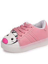 abordables -Fille Chaussures Polyuréthane Printemps été Confort Basket Marche LED pour Enfants Blanc / Noir / Rose