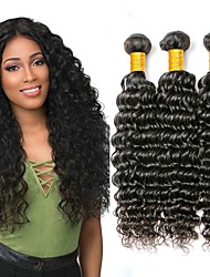 cheap -Indian Hair Deep Wave Gifts / Cosplay Suits / Natural Color Hair Weaves 3 Bundles 8-28 inch Human Hair Weaves Fashionable Design / Hot Sale / Thick Natural Black Human Hair Extensions Women's