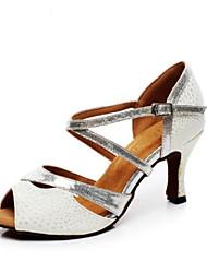 baratos -Mulheres Sapatos de Dança Latina Couro Ecológico Salto Salto Grosso Sapatos de Dança Prata / Ensaio / Prática
