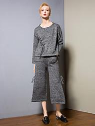 abordables -Mujer Básico / Sofisticado Conjunto - Un Color, Ahuecado Pantalón