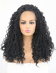 Недорогие -Синтетические кружевные передние парики Кудрявый Боковая часть Искусственные волосы Жаропрочная Черный Парик Жен. Длинные Лента спереди / Да