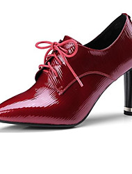 cheap -Women's Shoes Nappa Leather Spring Basic Pump Heels Chunky Heel Pointed Toe Black / Wine / Party & Evening