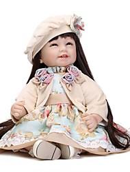 Недорогие -NPKCOLLECTION Куклы реборн Девочки 24 дюймовый Искусственная имплантация Коричневые глаза Детские Девочки Игрушки Подарок