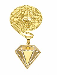 cheap -Men's Cubic Zirconia Stylish / Cuban Link Pendant Necklace / Chain Necklace - Stainless Creative, Precious Stylish, European, Hip-Hop Gold 60 cm Necklace 1pc For Street, Club