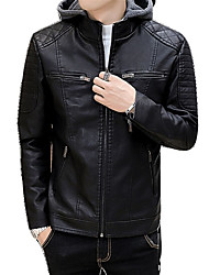 cheap -Men's Leather Jacket - Contemporary Hooded / Long Sleeve