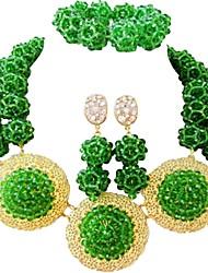 Недорогие -Жен. Многослойность Комплект ювелирных изделий - Австрийские кристаллы MOON Мода Включают Струнные ожерелья Синий / Ярко-розовый / Светло-коричневый Назначение Свадьба