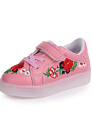cheap -Girls' Shoes PU(Polyurethane) Spring & Summer Comfort Sneakers Walking Shoes Flower / LED for Kids White / Black / Pink