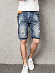 cheap -Men's Basic Jeans / Shorts Pants - Solid Colored Hole