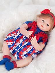 Недорогие -OtardDolls Куклы реборн Девочки 18 дюймовый как живой Ручные прикладные ресницы Искусственные имплантации Голубые глаза Детские Девочки Игрушки Подарок / Естественный тон кожи / Головка дискеты