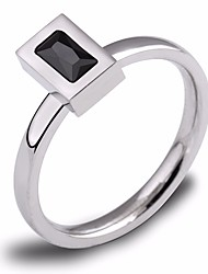 cheap -Women's Obsidian Classic Ring - Titanium Steel Simple, Geometric, Fashion 6 / 7 / 8 Black For Daily / Going out