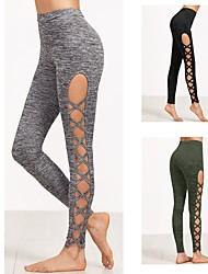 preiswerte -Damen Cutout Yoga-Hose - Schwarz, Armeegrün, Grau Sport Elasthan Strumpfhosen / Lange Radhose / Leggins Laufen, Fitness Sportkleidung Atmungsaktivität, Komfortabel Dehnbar