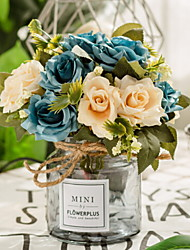 baratos -Flores artificiais 1 Ramo Clássico Estiloso / Moderno / Contemporâneo Rosas Flor de Mesa