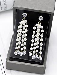 cheap -Women's Cubic Zirconia Long Drop Earrings - Elegant, British White For Party / Evening / Festival