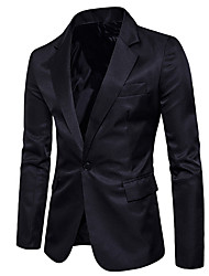 cheap -men's going out blazer-solid colored v neck