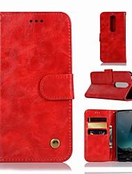 abordables -Funda Para Nokia Nokia X6 Cartera / Soporte de Coche / con Soporte Funda de Cuerpo Entero Un Color Dura Cuero de PU para Nokia X6