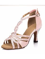 Недорогие -Жен. Обувь для латины Сатин Кроссовки Толстая каблук Танцевальная обувь Черный / Розовый