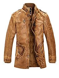 Недорогие -Муж. Офис Кожаные куртки Воротник-стойка Однотонный / Длинный рукав