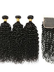 Недорогие -3 комплекта с закрытием Индийские волосы / Вьетнамские волосы Kinky Curly Необработанные / Натуральные волосы Подарки / Человека ткет Волосы / Сувениры для чаепития 8-20 дюймовый / Мода