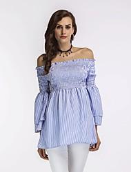 economico -Per donna Sleeve Lantern Camicia Vestito - A pieghe, Leopardata Asimmetrico