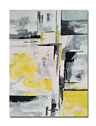 cheap -STYLEDECOR Modern Hand Painted Abstract Yellow and Gray Blocks on Canvas Oil Painting for Wall Art