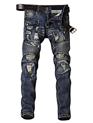 cheap -Men's Street chic Jeans Pants - Solid Colored Pleated / Hole / Patchwork