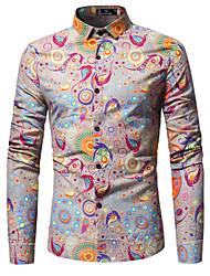 cheap -Men's Cotton Shirt - Floral / Long Sleeve