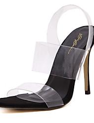 baratos -Mulheres Crystal Sandals PVC Primavera Verão Plástico / Shoe transparente Saltos Salto Agulha Dedo Aberto Cristais Preto / Amêndoa / Festas & Noite / Festas & Noite