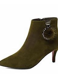 Недорогие -Жен. Обувь Овчина Наступила зима Удобная обувь / Модная обувь Ботинки На шпильке Ботинки Черный / Военно-зеленный