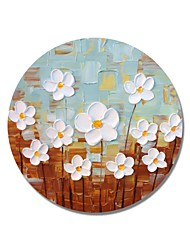 cheap -STYLEDECOR Modern Hand Painted Abstract Circular Frame Small White Flowers with Blue and Brown Background Oil
