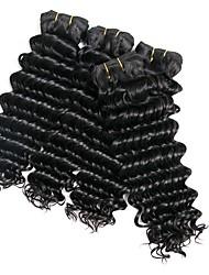 Недорогие -4 Связки Бразильские волосы Кудрявый Натуральные волосы Человека ткет Волосы / Удлинитель 8-28 дюймовый Нейтральный Ткет человеческих волос Машинное плетение