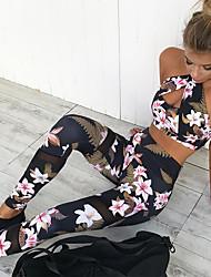 baratos -Mulheres Decote Cruzado Terno de Yoga - Preto Esportes Floral Elastano, Com Transparência Cintura Alta Sutiã Esportivo / Meia-calça / Leggings Ioga, Dança, Fitness Roupas Esportivas Secagem Rápida