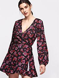 preiswerte -Damen Grundlegend Chiffon Kleid Solide / Blumen Mini Tiefes V / Sommer