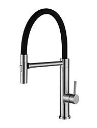 cheap -Kitchen faucet Brushed Steel Pull-out / Pull-down Free Standing