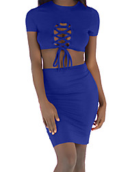 cheap -Women's Basic / Sophisticated Set - Solid Colored, Lace up Skirt