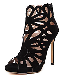 baratos -Mulheres Sapatos Couro Sintético Primavera Verão Gladiador Botas Salto Agulha Peep Toe Botas Curtas / Ankle Botão Preto / Festas & Noite