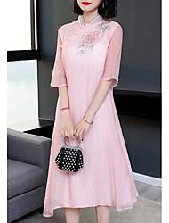 baratos -Mulheres Reto Vestido Colarinho Chinês Médio