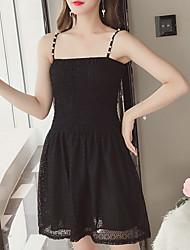 cheap -Women's Elegant Little Black Dress - Solid Colored Lace
