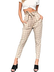 cheap -Women's Slim Harem Pants - Check High Waist