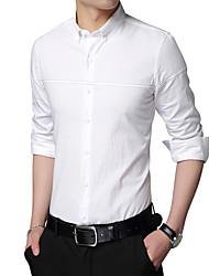 billige -Tynd Herre - Stribet Bomuld Plusstørrelser Skjorte / Langærmet