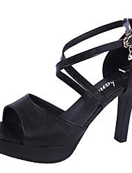 Недорогие -Жен. Обувь Полиуретан Лето Туфли д'Орсе Сандалии На шпильке Белый / Черный / Для вечеринки / ужина