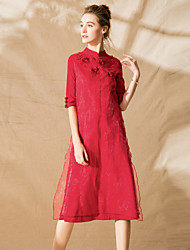 baratos -Mulheres Moda de Rua / Temática Asiática Reto Vestido - Bordado, Sólido Médio
