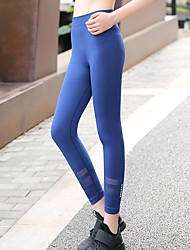 cheap -Women's Fold Over Waist Yoga Pants - Black, Blue Sports Solid Color Spandex High Rise 3/4 Tights Running, Fitness, Gym Activewear Breathable, Compression, Sweat-wicking Micro-elastic