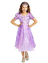 cheap -Princess Costume Girls' Halloween / Carnival / Children's Day Festival / Holiday Halloween Costumes Purple Solid Colored / Halloween Halloween