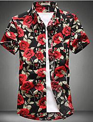 baratos -Homens Tamanhos Grandes Camisa Social Básico Patchwork / Estampado, Floral Algodão Delgado / Manga Curta