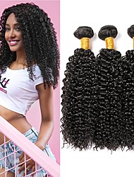 cheap -3 Bundles Indian Hair Curly Human Hair Natural Color Hair Weaves / Extension 8-28 inch Human Hair Weaves Machine Made Best Quality / Hot Sale / 100% Virgin Natural Human Hair Extensions Women's