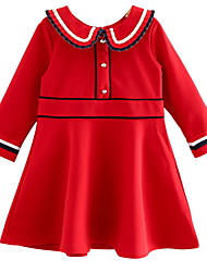 cheap -Kids Girls' Color Block Long Sleeve Dress